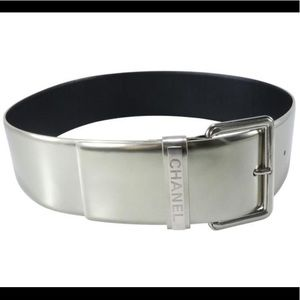 💯 auth CHANEL silver pewter leather belt 32/80